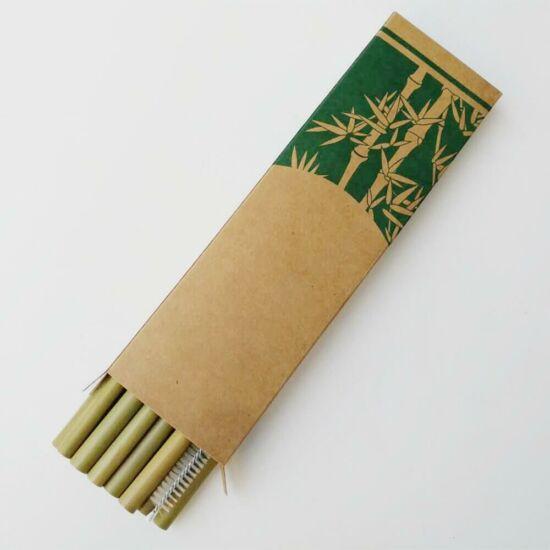 Bambusz szívószál tisztítókefével