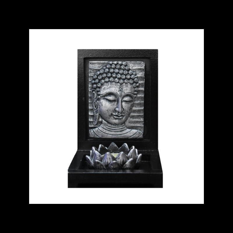 Ezüst Buddha mécsestartó lótusszal