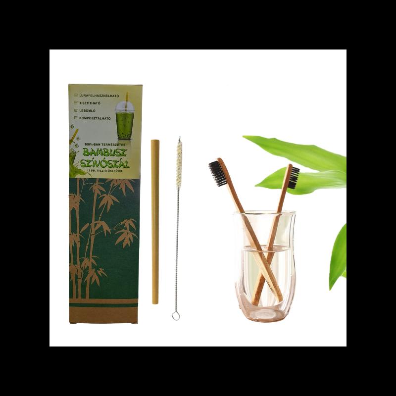 Környezetvédő csomag bambusz szívószállal és fogkefével