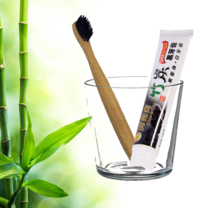 Bambusz faszén fogkefe és fogkrém csomag